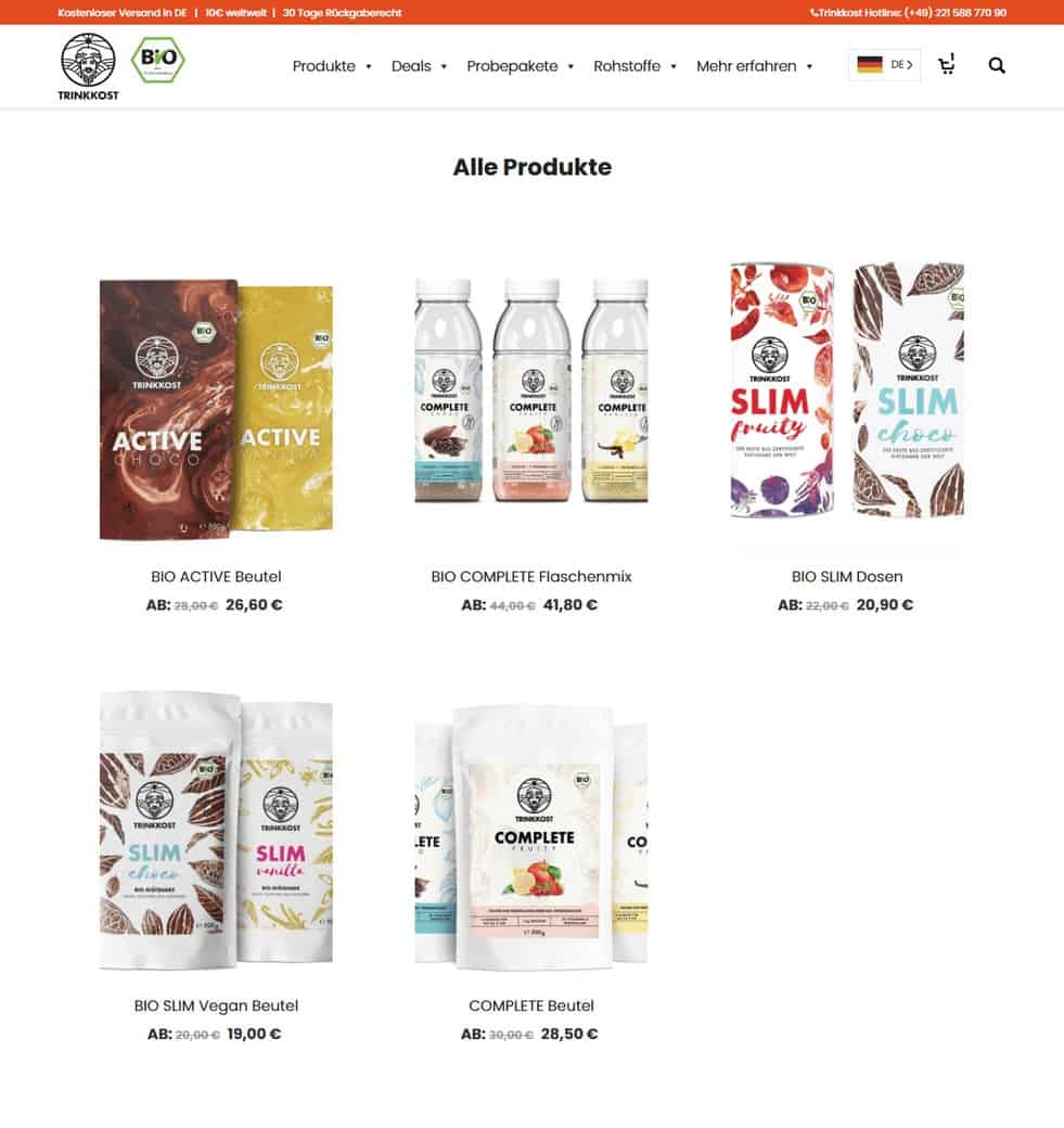 Trinkost Website portofolio